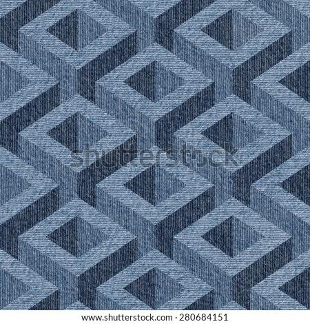 Abstract paneling pattern - seamless pattern - Blue denim jeans - stock photo