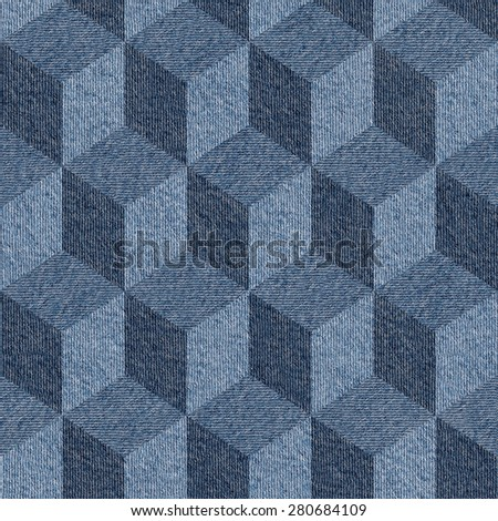 Abstract paneling pattern - seamless pattern - blue jeans texture - stock photo