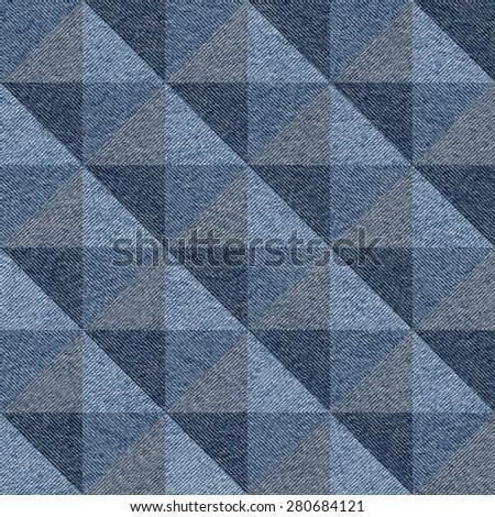 Abstract paneling pattern - seamless pattern - pyramidal pattern - blue jeans textile - stock photo