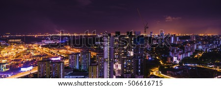abstract panorama night cityscape on twilight time and industry area - can use to display or montage on product