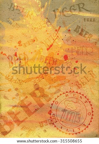 Abstract paper background with stamp and spilled beer blots. Raster illustration