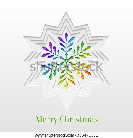 Abstract Paper Cut Christmas Snowflake Background, Trendy Greeting Card or Invitation Design Template - stock photo