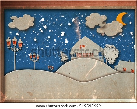 Abstract paper cut-fantasy home sweet home -moon with stars-cloud and sky at night
