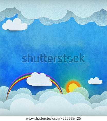 Abstract paper cut with sun, sunshine,white cloud and rainbow on blue water color texture background. White paper cloud with space for design or content. Cloud scape, Spring seasonal nature background - stock photo