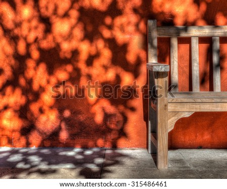 Abstract park bench with decorative shadow design - stock photo
