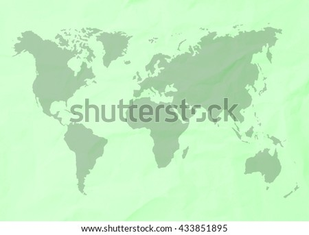 Abstract pastel green crumpled paper or recycle paper for backgrounds with world map in black tone  - stock photo