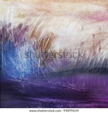 abstract pastel on paper landscape, art, impressionism - stock photo