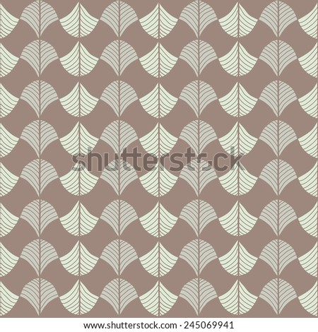Abstract pattern based on a Traditional African Ornament. Warm brown colors. Seamless pattern. Stylized papyrus leaves. Brown background for decoration or backdrop.  - stock photo