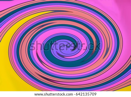 Abstract pattern colorful circle spiral pink purple blue green yellow orange for background and wallpaper, beautiful colorful motion illustration background