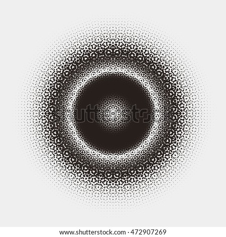 Abstract pattern design with circular dotted halftone element
