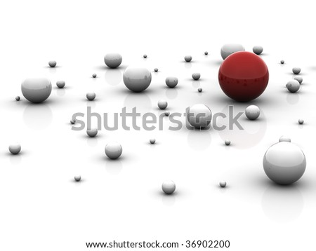 Abstract pattern from balls on a white background - stock photo