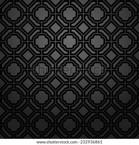 Abstract pattern in Arabian style. Seamless  background. Black geometric texture. - stock photo
