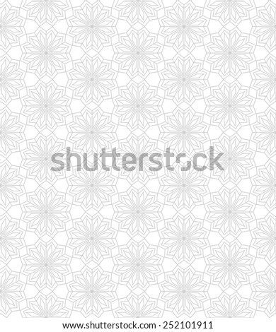 Abstract pattern in Arabian style. Seamless  background. Gray and white texture. - stock photo