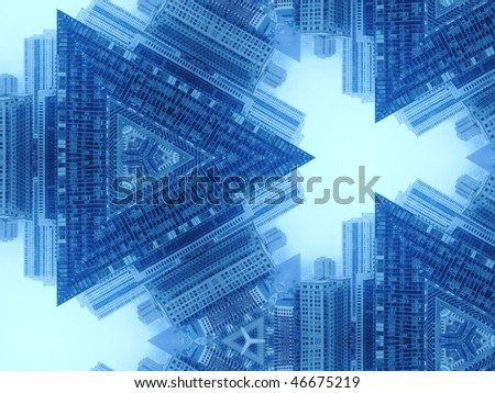 abstract pattern made of urban skyline elements - triangles - stock photo