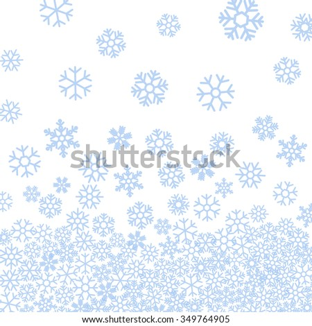 Abstract pattern of blue falling snowflakes on white background. Elegant pattern for Christmas or New year background, festive banner, card, invitation, postcard. Raster copy of vector file. - stock photo