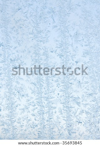 abstract pattern of natural occurring frost on a window - stock photo
