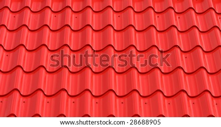 abstract pattern of red metal roof tiles - stock photo