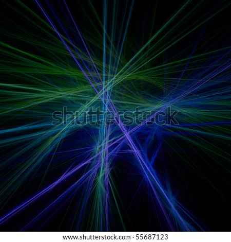 Abstract pattern of string fibers in shades of green, blue, and purple - stock photo