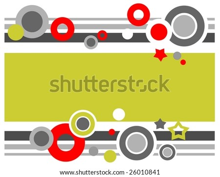 Abstract pattern with circles and stars on a white background.