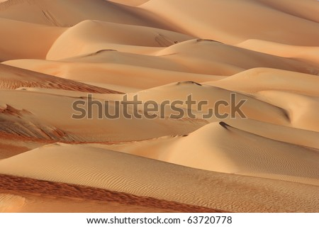 Abstract patterns in the dunes of the Rub al Khali or Empty Quarter. Straddling Oman, Saudi Arabia, the UAE and Yemen, this is the largest sand desert in the world. - stock photo