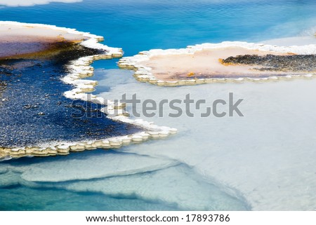 abstract patterns in the thermal hot springs in Yellowstone National Park - stock photo