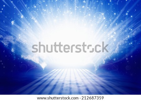Abstract peaceful background - beautiful blue sky, bright beams, way to heaven - stock photo