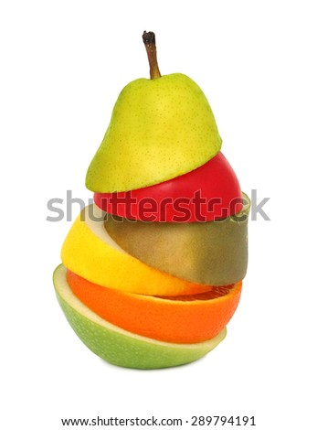 Abstract pear composed from pieces of different fruits isolated on white background