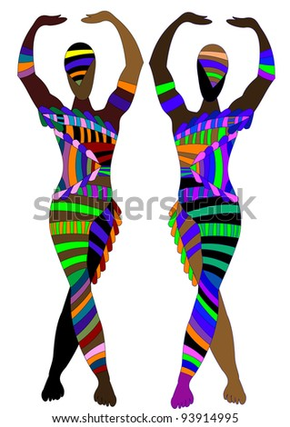 abstract people doing their circus stunt on a white background - stock photo