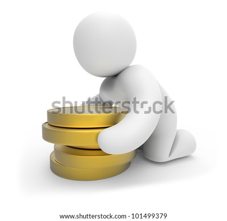 abstract people - human character and  coins.