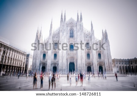 abstract people walking  in milan - stock photo