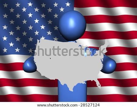 abstract person holding USA map sign with American flag illustration