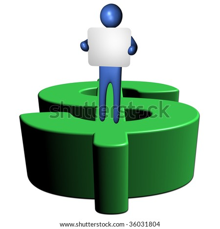 abstract person with sign on giant dollar symbol illustration