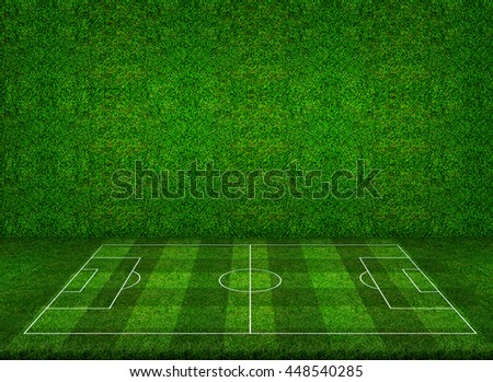 Abstract perspective of soccer football field with green grass wall texture background. - stock photo