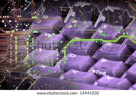 Abstract photo edit of computer keyboard and circuit board.