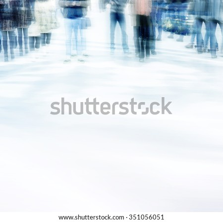 abstract photo of people in motion, multiple exposure effect.Blurred people walking through a city street.  - stock photo