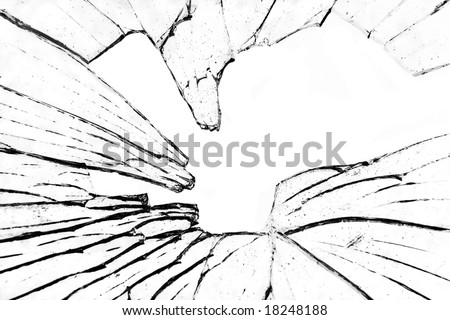 abstract photo of shattered glass against white - stock photo