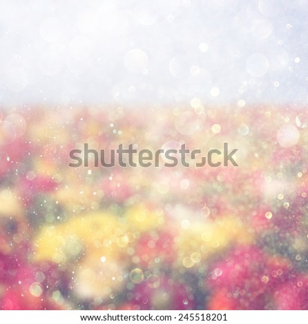 abstract photo of wild flower field and bright bokeh lights.