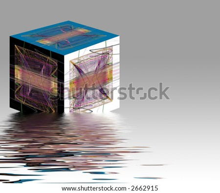Abstract picture cube floating on water with white background - stock photo