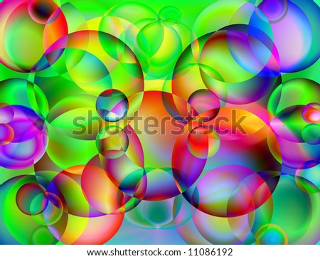 Abstract picture from color balls on a green background