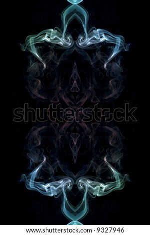 abstract picture of coloured smoke on the black background