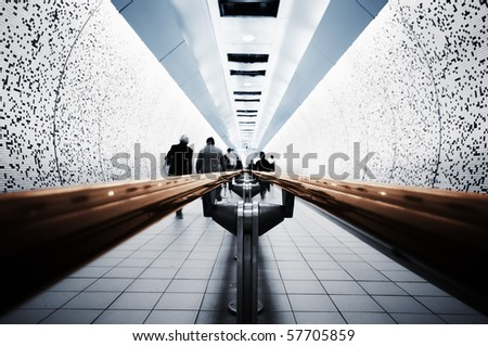 Abstract picture of Commuters ( London, Underground) - stock photo