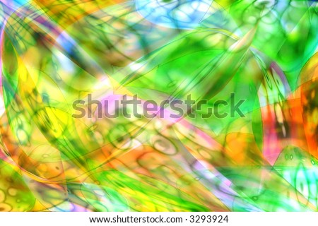 Abstract picture of patterns on silk meaning transition of spring at summer with multi-colour wavy crossings paints - stock photo