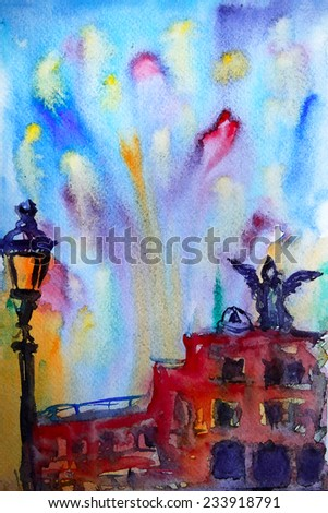 Abstract picture of the Castel Sant Angelo in Rome painted by watercolor. - stock photo