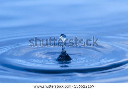 Abstract picture of water splash like crown, Blue background
