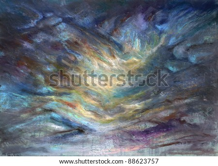 abstract picture painted by me showing a mountain and valley in pastel colors