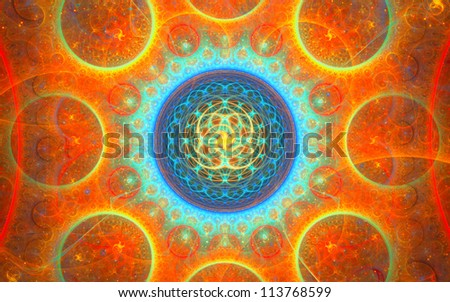 Abstract picture with circle pattern, fractal mandala - stock photo