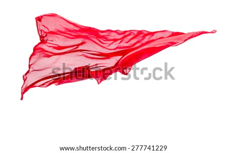 abstract piece of red fabric flying, isolated on white, design element - stock photo