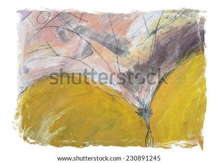 Abstract Pink and Yellow Grunge Background - stock photo