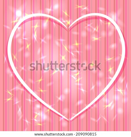 Abstract pink background with stripes, light glare. Heart. Valentine's day card.  - stock photo