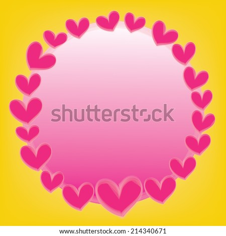abstract pink heart  with space for text on a yellow background